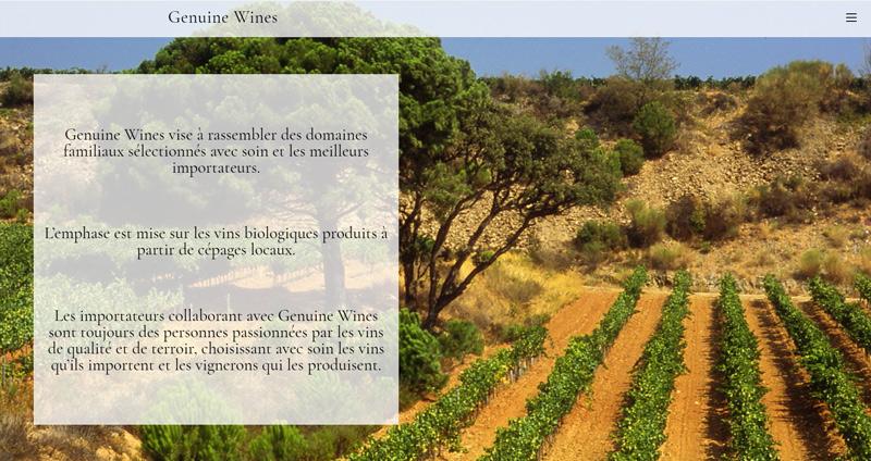 Site Genuine Wines Manou B. graphisme & web design